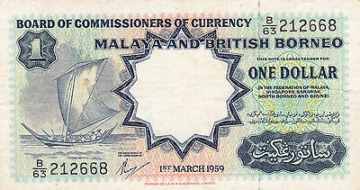 1 One Dollar Malaya And British Borneo 1959 C