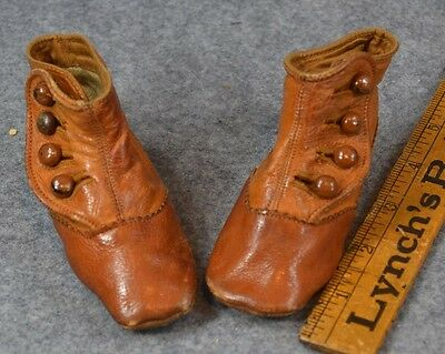 baby doll shoes high button brown antique original 1800s