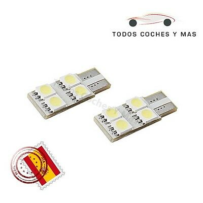 2 X Bombillas Led Coche Canbus T10 W5W 4 Leds 1 Cara Smd 5050 Blanco Matricula