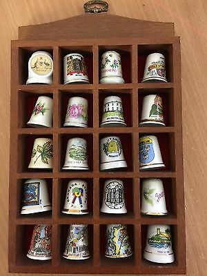 Wooden Thimble Display Rack / Holder + 20 Assorted Thimbles