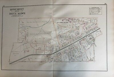 Orig 1893 J.l. Smith Montgomery County, Pa Rosemont, Bryn Mawr College Atlas Map