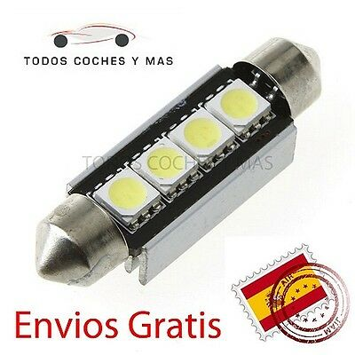 2 X Bombillas Led Coche Festoon Canbus C5W 41Mm 42Mm Smd 4 Led 5050 Matricula