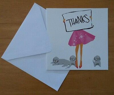 Set of 6 Blank Square Thank You Greeting Note Cards & Envelopes ~ Thanks