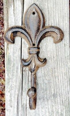 Cast Iron Fleur De Lis Wall Hook Rusty Brown Finish French Country LG