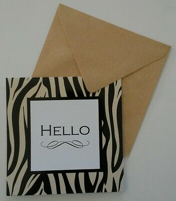 Set of 6 Blank Square Thank You Greeting Note Cards & Envelopes ~ Hello