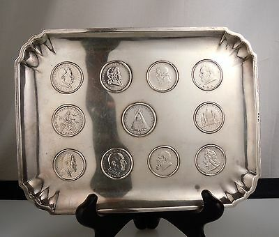 Austria 800 Silver Tray Dish with Inset Coins