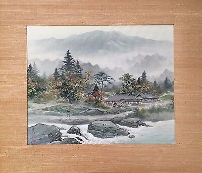 Vintage / Antique Japanese Original Watercolor Landscape Painting On Silk