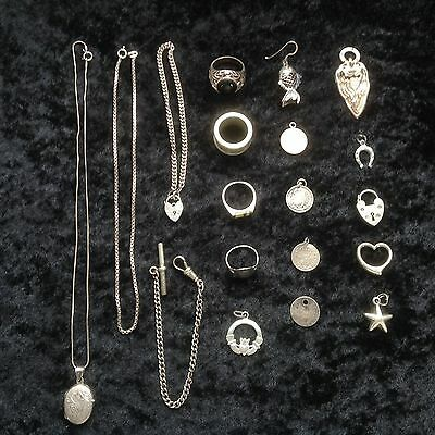 88.65g 925 STERLING SOLID SILVER JEWELLRY JOB LOT- NOT SCRAP RINGS CHAINS CHARMS
