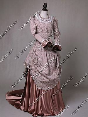 TOP Quality Victorian Edwardian Brocade Bustle Dress Gown Theater Clothing 131