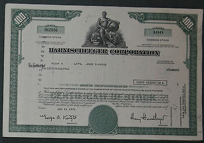 Lot 52 X Harnischfeger Corporation 100 shares 1975/1976er