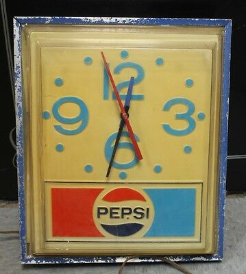 "Vintage c.1979 Pepsi Cola Advertising Lighted Clock Sign 18"" Needs Work"