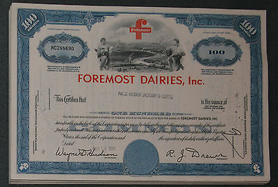 Lot 37 X Foremost Dairies, Inc. 100 shares 1960er