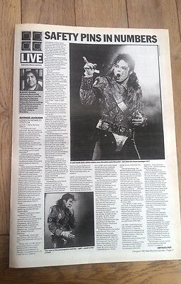 MICHAEL JACKSON Wembley 1992  2  page concert review U K ARTICLE / clipping