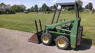 John Deere 60 Mini Skid Steer Loader All Original w/ Bucket & Forks