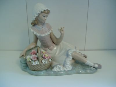 Early Lladro Figurine - Seated Girl With Basket Of Flowers