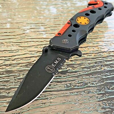 Tac Force Spring Assisted Tactical Emt Ems Orange Rescue Folding Pocket Knife
