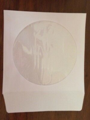 500 pcs White CD DVD Paper Sleeves Envelopes with Flap and Clear Window