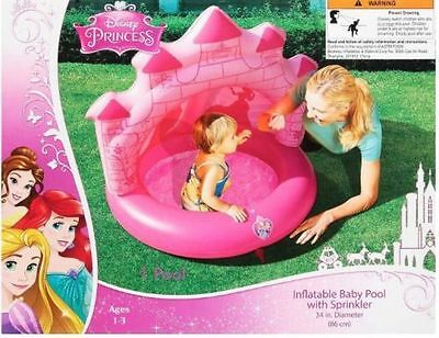New 34 inch Disney Princess Inflatable Baby Pool with Sprinkler Ariel Belle