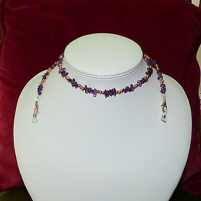 spectacle glasses sunglasses cord chain necklace purple amethyst rose gold beads