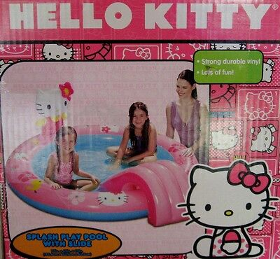 New Hello Kitty Splash Play Pool with Slide Inflatable Kids Pool 77inx66inx25in