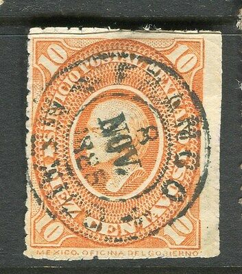 MEXICO;  1885 fine full Postmark on 10c. classic rouletted value