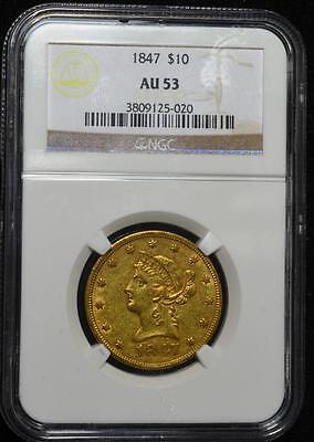 1847 $10 Gold Eagle AU-53 NGC. No Motto Early issue Free Shipping