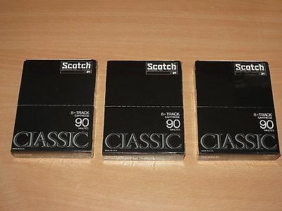 3 x SCOTCH CLASSIC 8-TRACK CARTRIDGE TAPE 8-SPUR LEER KASSETTE 90 MIN OVP SEALED