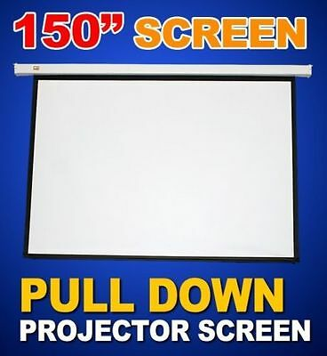 """New 150"""" Pulldown Manual Pull Down Projector Projection Screen Matt 4:3-White"""