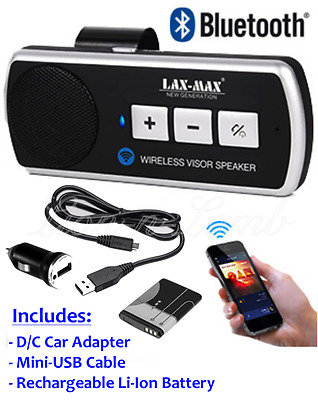 Hands Free Calling Speaker Car Auto Wireless Bluetooth Visor Clip Kit Smartphone