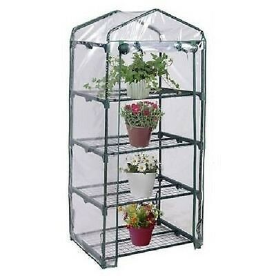 4 Tier Greenhouse Garden Mini Frame PVC Cover Roll Up Front Grow Plants Outdoor
