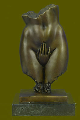 Vintage Handcrafted Female Bust Large Bronze Art Work Sculpture On A Marble Base