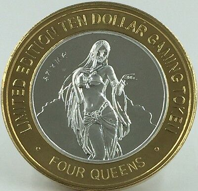 "Silver Strike - Four Queens ""Summer"" $10 Dollar Gaming Token  - silver clad -"