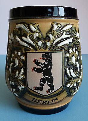 Berlin Beer Stein Bear Logo Original King 3 #406 Western Germany Vintage