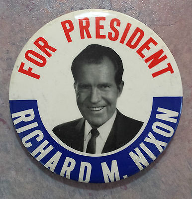 Richard M. Nixon 'For President' 1970s Political Pinback Button Large 3 1/2""