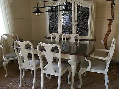 Antique Queen Anne style Burr Walnut Extendable Dining Table & 6 chairs painted