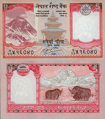 Nepal 5 Rupees (2008) - Yaks/Mt. Everest/p60 UNC