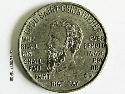 "GOOD SAINT CHRISTOPHER ""Good Luck Token"" - Silver from San Christobal Mine"