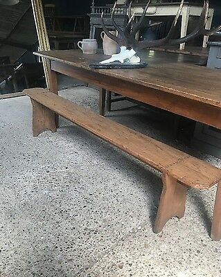 Antique French Country Farmhouse Table Bench