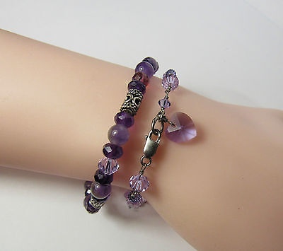 "2 Pc Lot Sterling Silver Amethyst Gemstone Purple Crystal Heart 7.5"" Bracelets"