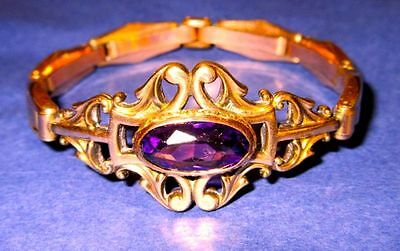 Antique Victorian Rose Gold Plated Amethyst Paste Spring Stretching Bracelet