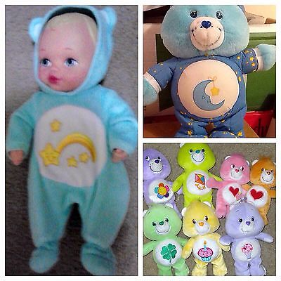 "Vtg 80s Care Bears Plush Love A Lot Bedtime Bear stuffed 13"" Lot"