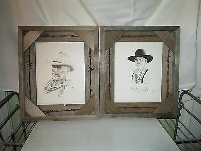 14'' Lonesome Dove Gus & Woodrow R Duval Lee Jones Prints Pictures Rustic Frames