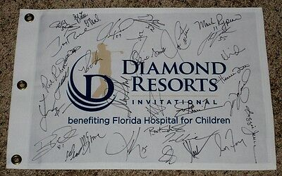 DIAMOND RESORTS INTERNATIONAL GOLF PIN FLAG Signed by (32) w/CLEMENS,(6)HOFers++