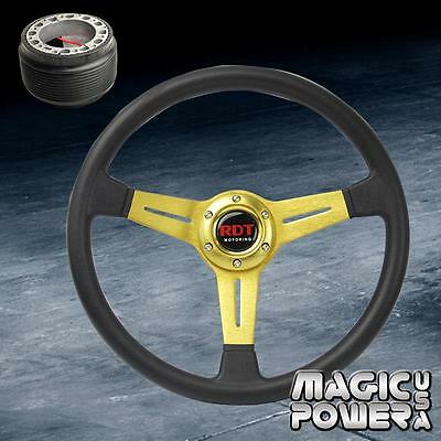 Black//Gold 350mm Deep Dish Steering Wheel /& Hub Adapter Mazda Miata 1990-2005