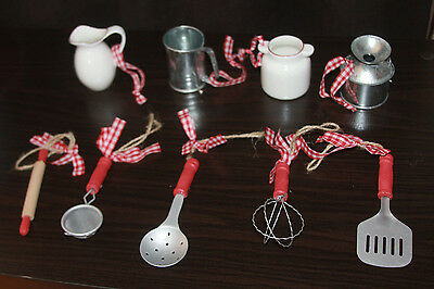 9 Country Kitchen Christmas Ornaments Ceramic Wood Metal Baking Cooking