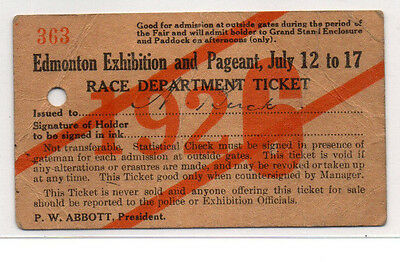 Edmonton Exhibition And Pageant Ticket 1926