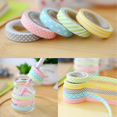 DIY 5PCS/SET Washi Tape Book Decor Scrapbooking Adhesive Paper Sticker Craft