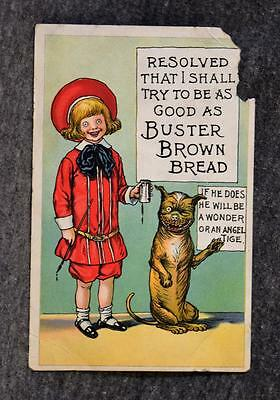 Early 1900's Advertising Card Buster Brown Bread Grocers Baking Indianapolis IN