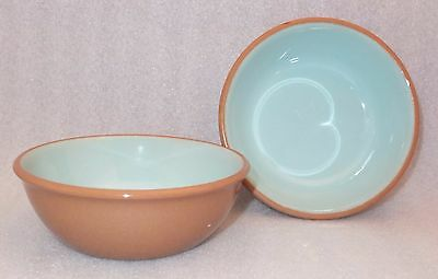 2 TST Chateau Buffet Cereal Bowls Taylor Smith Taylor Tan Aqua Blue