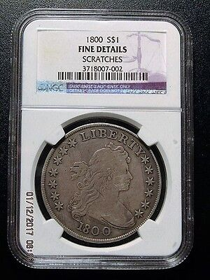 1800 Draped Bust Silver Dollar - NGC Graded Fine Details -Scratches